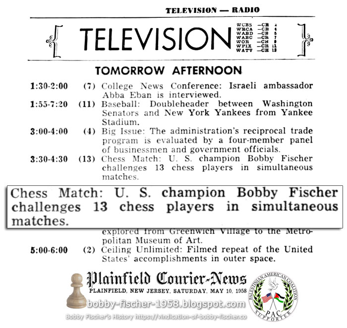 Bobby Fischer, Televised Simultaneous Exhibition