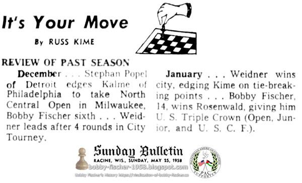 Bobby Fischer, 14, wins Rosenwald, giving him U.S. Triple Crown