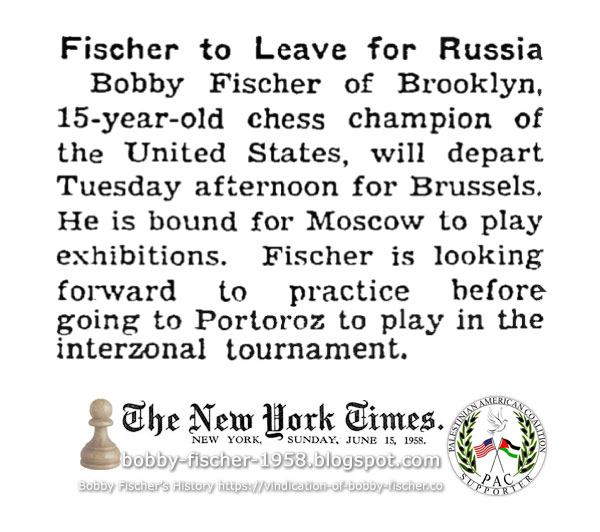 Fischer to Leave for Russia