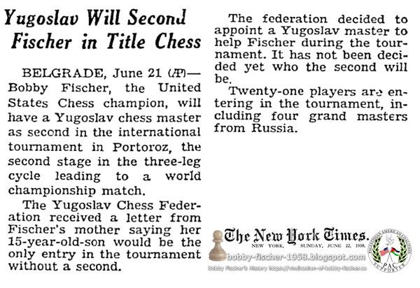 Yugoslav Will Second Fischer in Title Chess