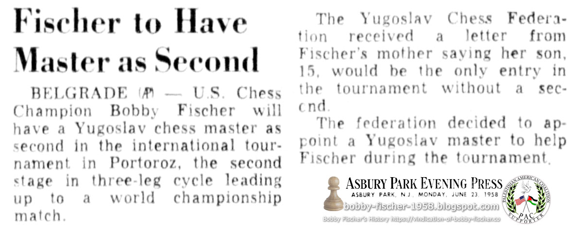 Fischer to Have Master as Second