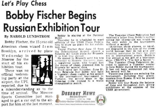 Bobby Fischer Begins Russian Exhibition Tour