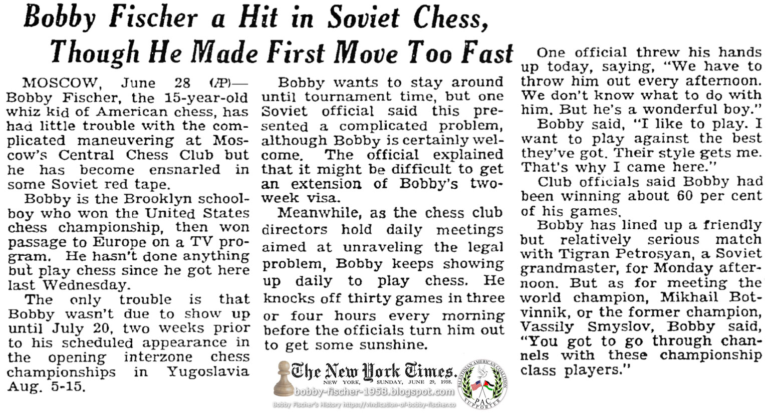 Bobby Fischer a Hit in Soviet Chess, Though He Made First Move Too Fast