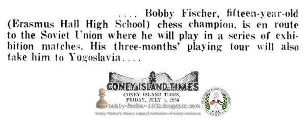 Bobby Fischer en route to the Soviet Union