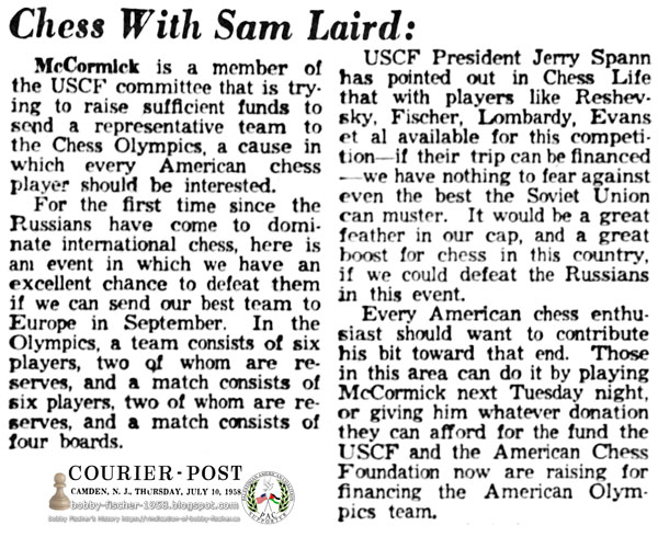 American Chess Funding for Olympic Team Representation