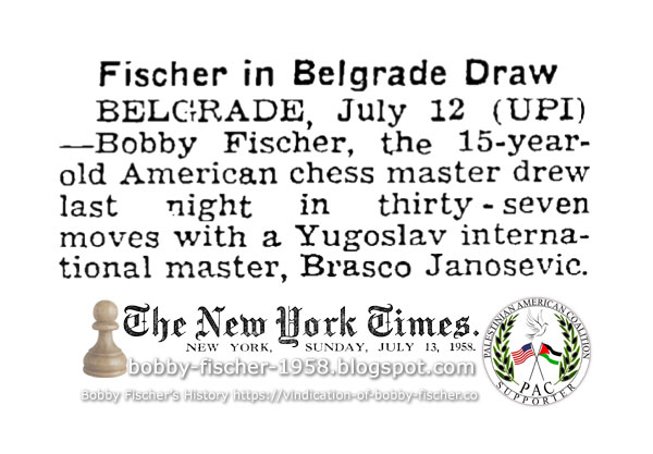 Fischer in Belgrade Draw
