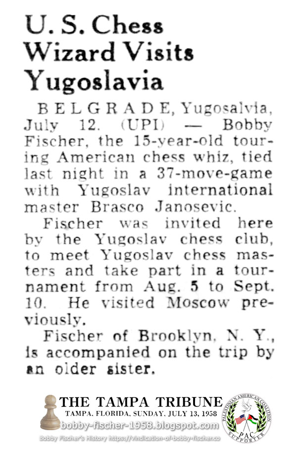 U.S. Chess Wizard Visits Yugoslavia