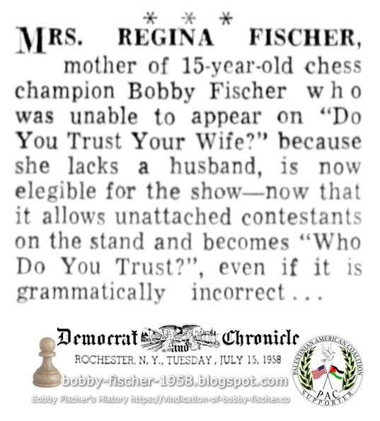 Regina Fischer Eligible Contestant on Television Show