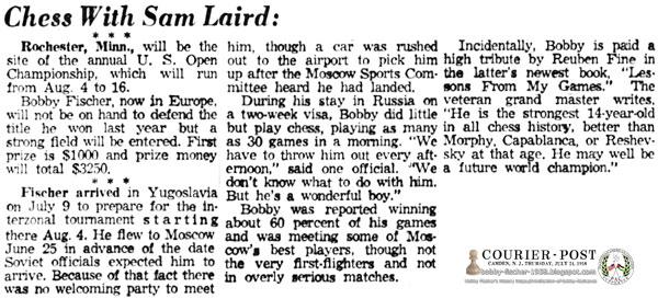 Bobby Fischer Arrives in Yugoslavia