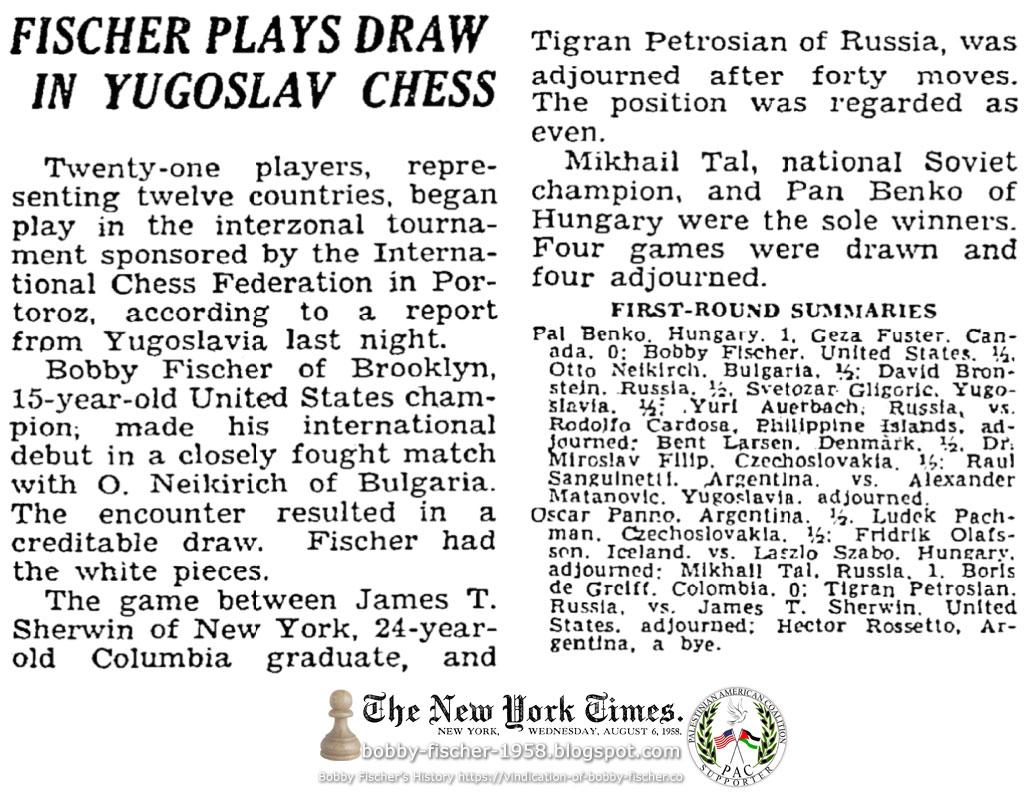 Fischer Plays Draw In Yugoslav Chess
