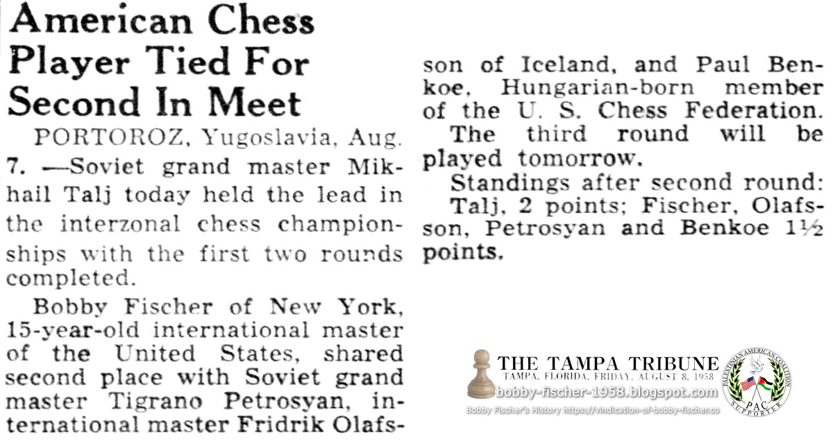 American Chess Player Tied For Second In Meet
