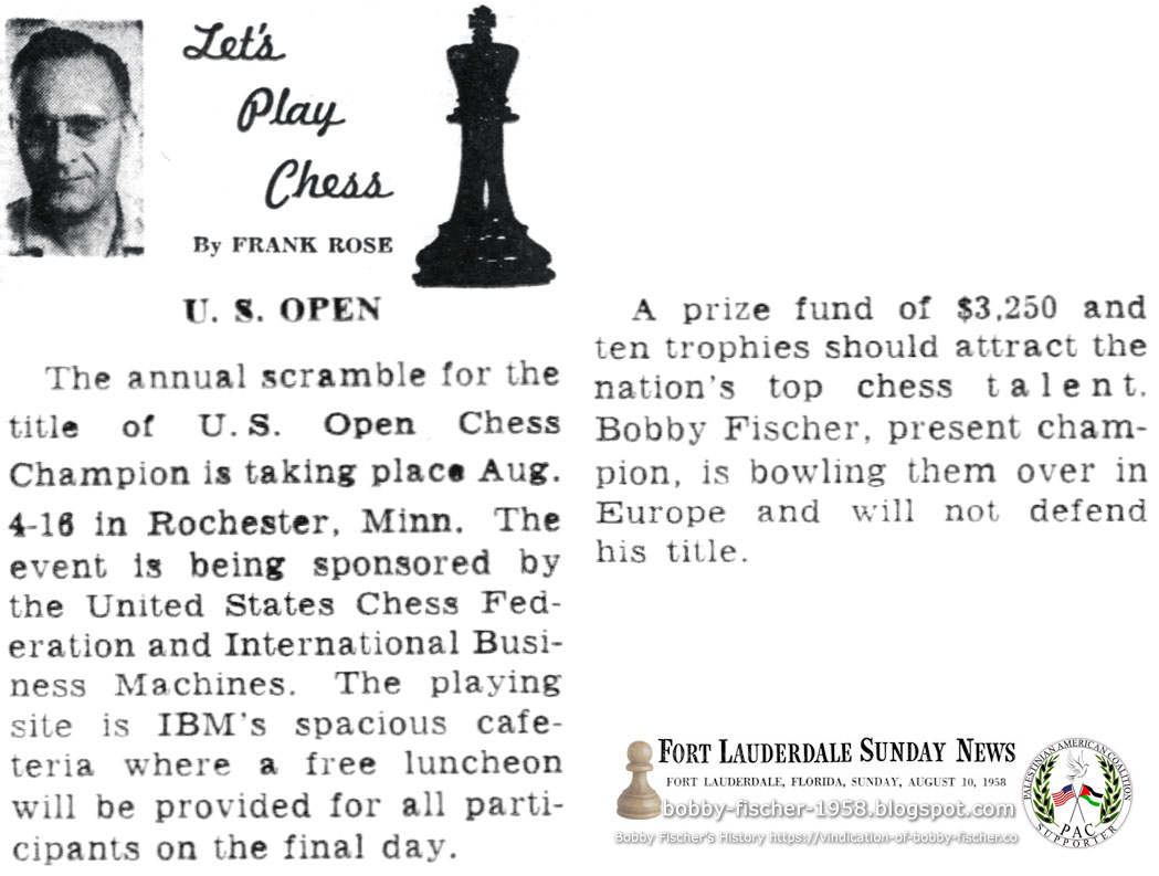 Bobby Fischer in Europe, Will Not Defend Title