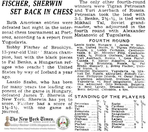 Fischer, Sherwin Set Back In Chess