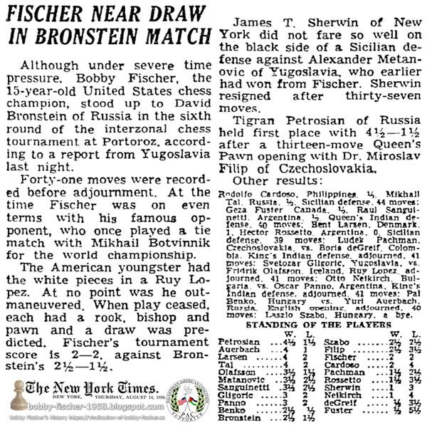 Fischer Near Draw In Bronstein Match