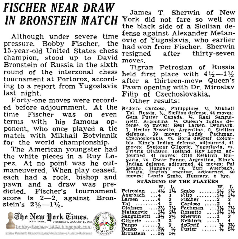 Fischer Near Draw In Bronstein Match