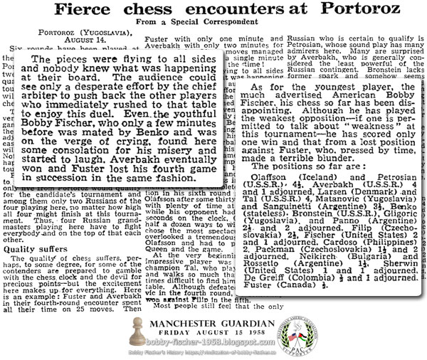 Fierce Chess Encounters at Portoroz Meet