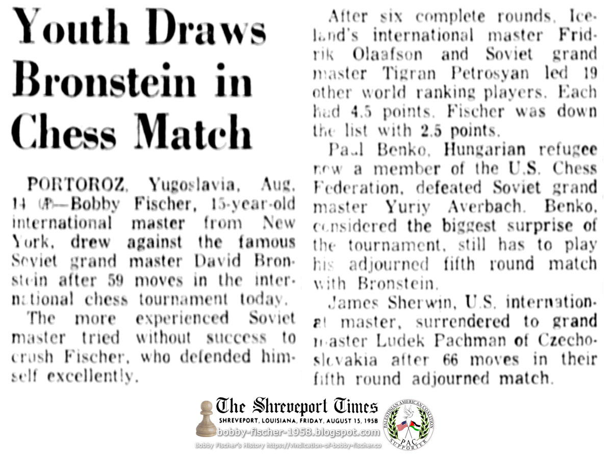 Youth Draws Bronstein in Chess Match