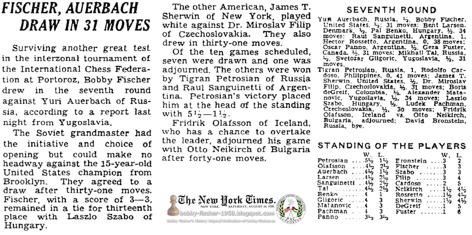 Fischer, Auerbach Draw In 31 Moves