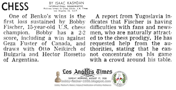 Bobby Fischer Difficulties with Fans and Newsmen