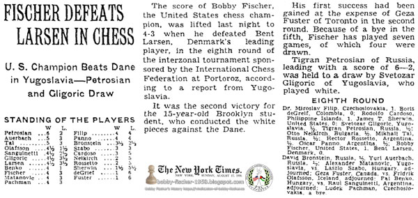 Fischer Defeats Larsen In Chess