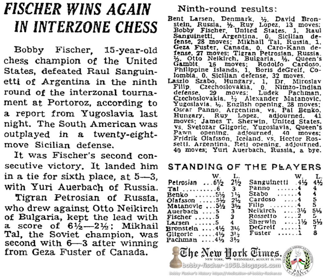 Fischer Wins Again In Interzone Chess