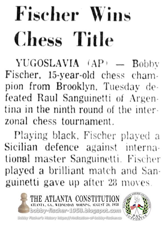 Fischer Wins Chess Title
