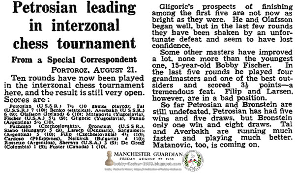 Petrosian leading in interzonal chess tournament