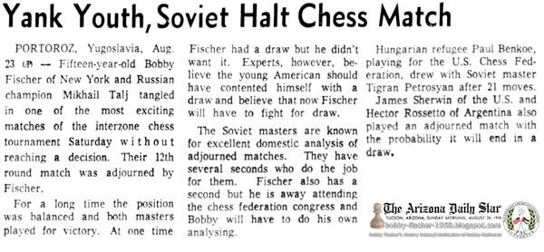 Yank Youth, Soviet Halt Chess Match