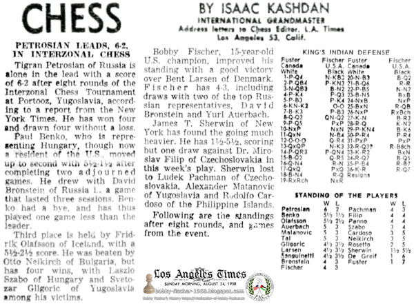 Bobby Fischer, 15-Year-Old U.S. Champion Improves Standing with Victory over Bent Larsen