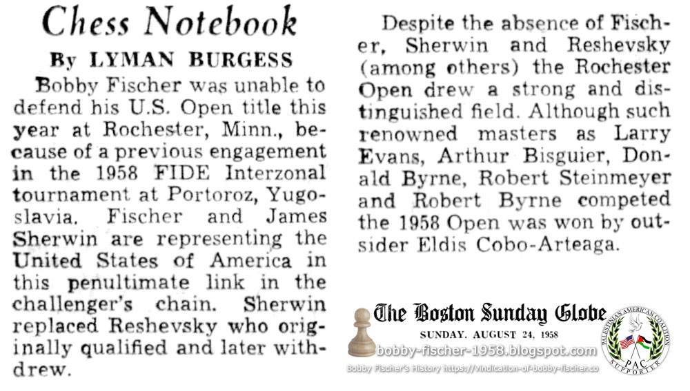 Bobby Fischer Not Competing in 1958 U.S. Open at Rochester, Minn.