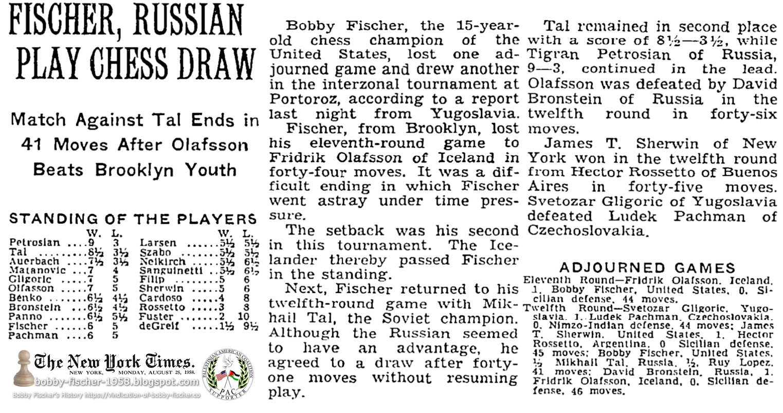 Fischer, Russian Play Chess Draw