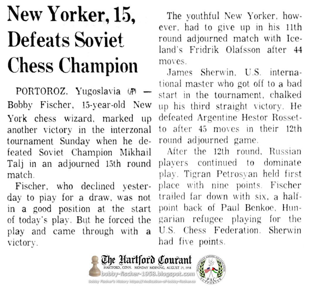 New Yorker, 15, Defeats Soviet Chess Champion