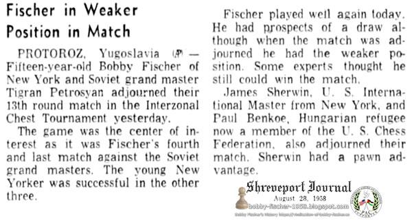 Fischer in Weaker Position in Match