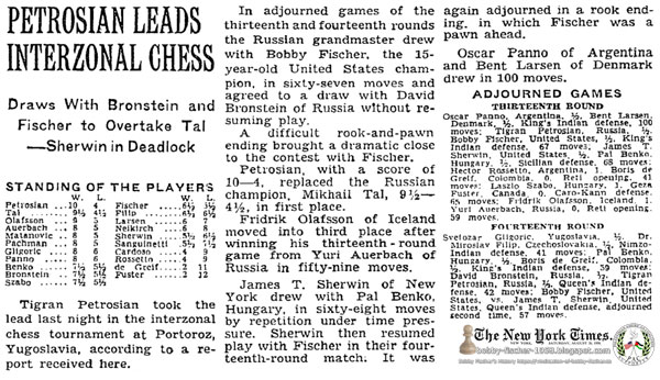 Petrosian Leads Interzonal Chess: Draws With Bronstein and Fischer to Overtake Tal—Sherwin in Deadlock