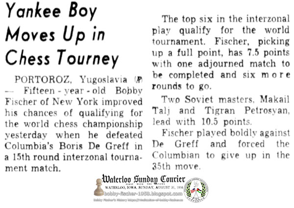 Yankee Boy Moves Up in Chess Tourney