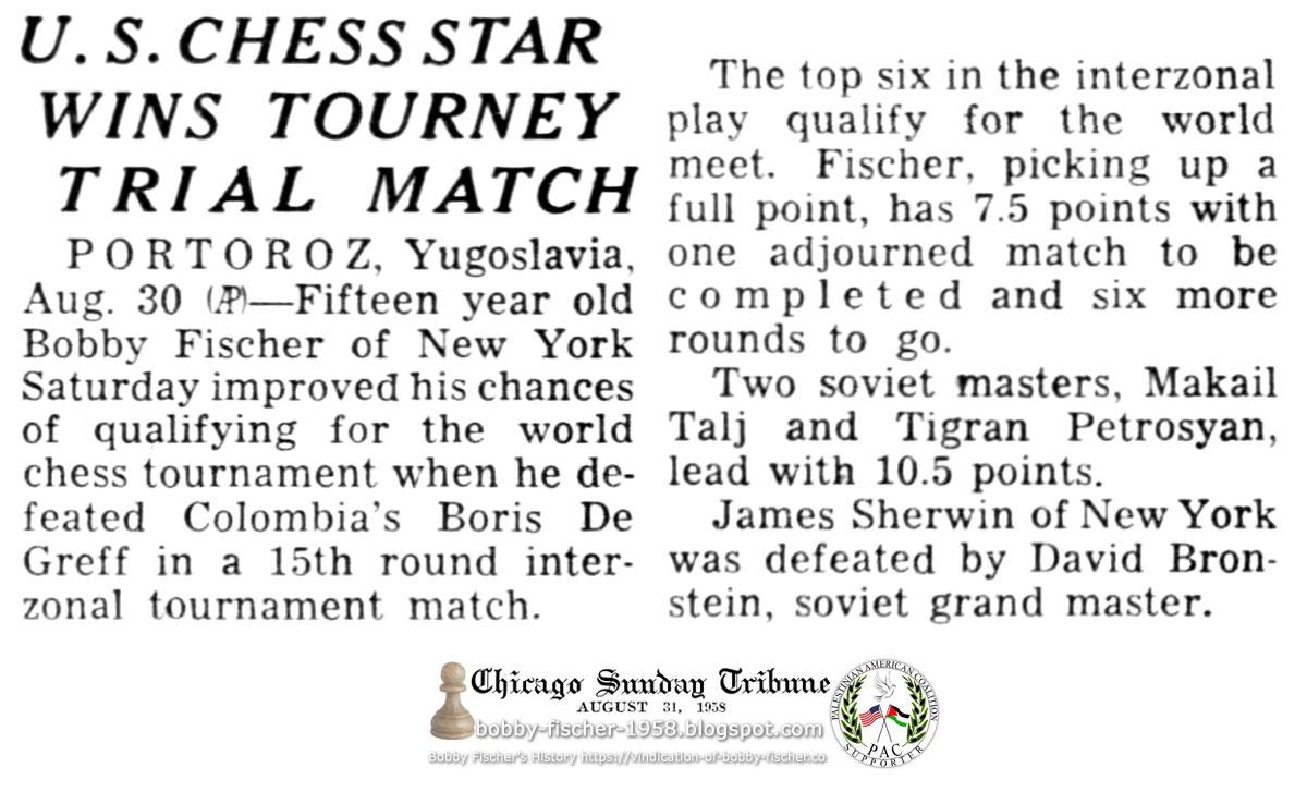 U.S. Chess Star Wins Tourney Trial Match
