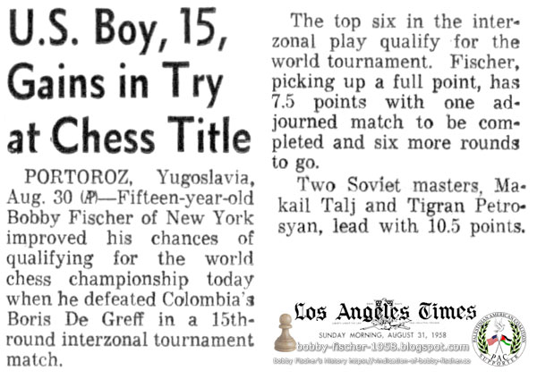 U.S. Boy, 15, Gains In Try at Chess Title