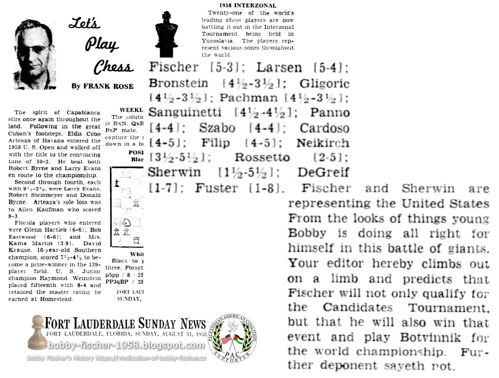 Out On A Limb With Great Tournament Predictions: Fischer in Yugoslavia