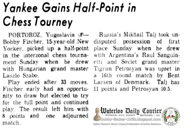 Yankee Gains Half-Point in Chess Tourney