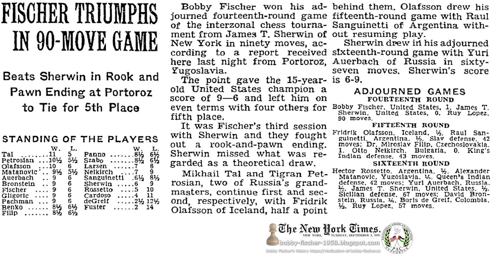 Fischer Triumphs In 90-Move Game
