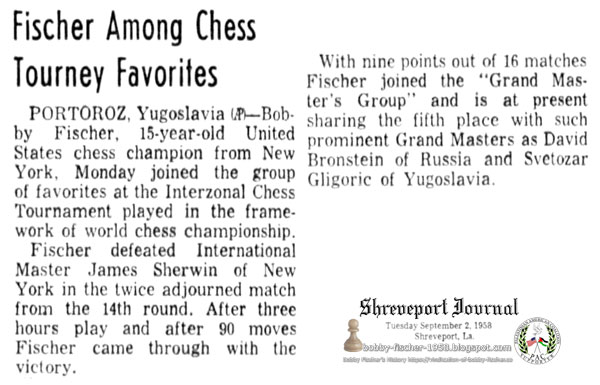 Fischer Among Chess Tourney Favorites