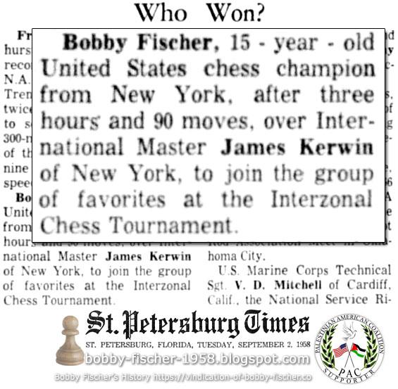 Bobby Fischer vs. James Sherwin of New York