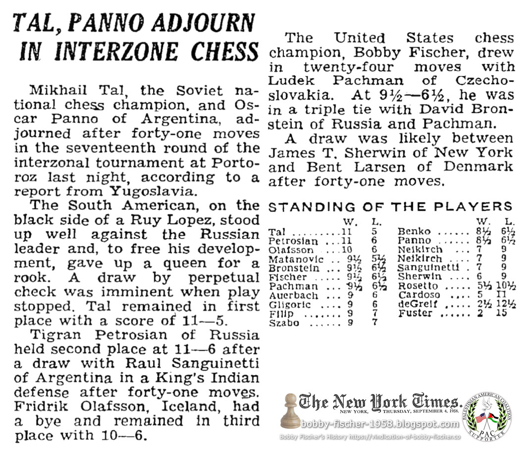 Tal, Panno Adjourn In Interzone Chess: Bobby Fischer Draws in 25 Moves with Ludek Pachman
