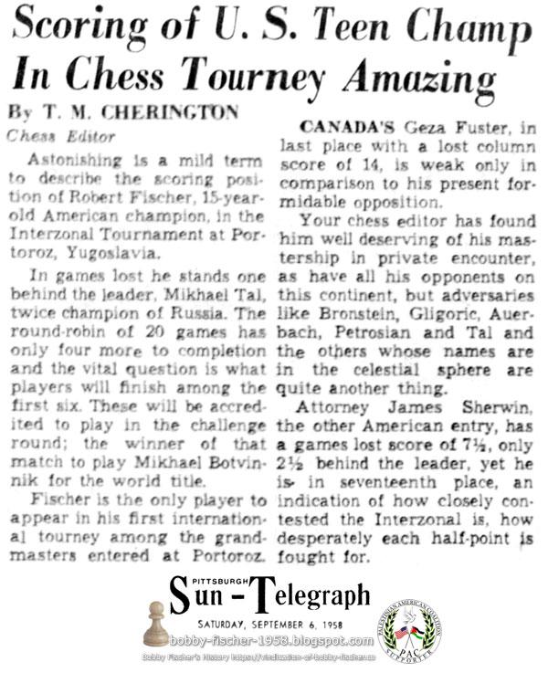 Scoring of U.S. Teen Champ In Chess Tourney Amazing