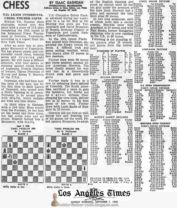 Tal Leads Interzonal Chess; Fischer Gains