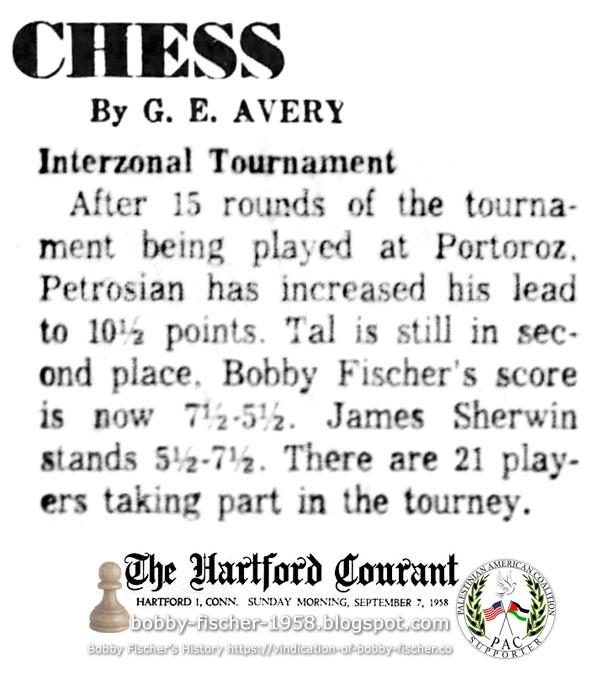 1958 Interzonal in Yugoslavia: Bobby Fischer's Score 7.5