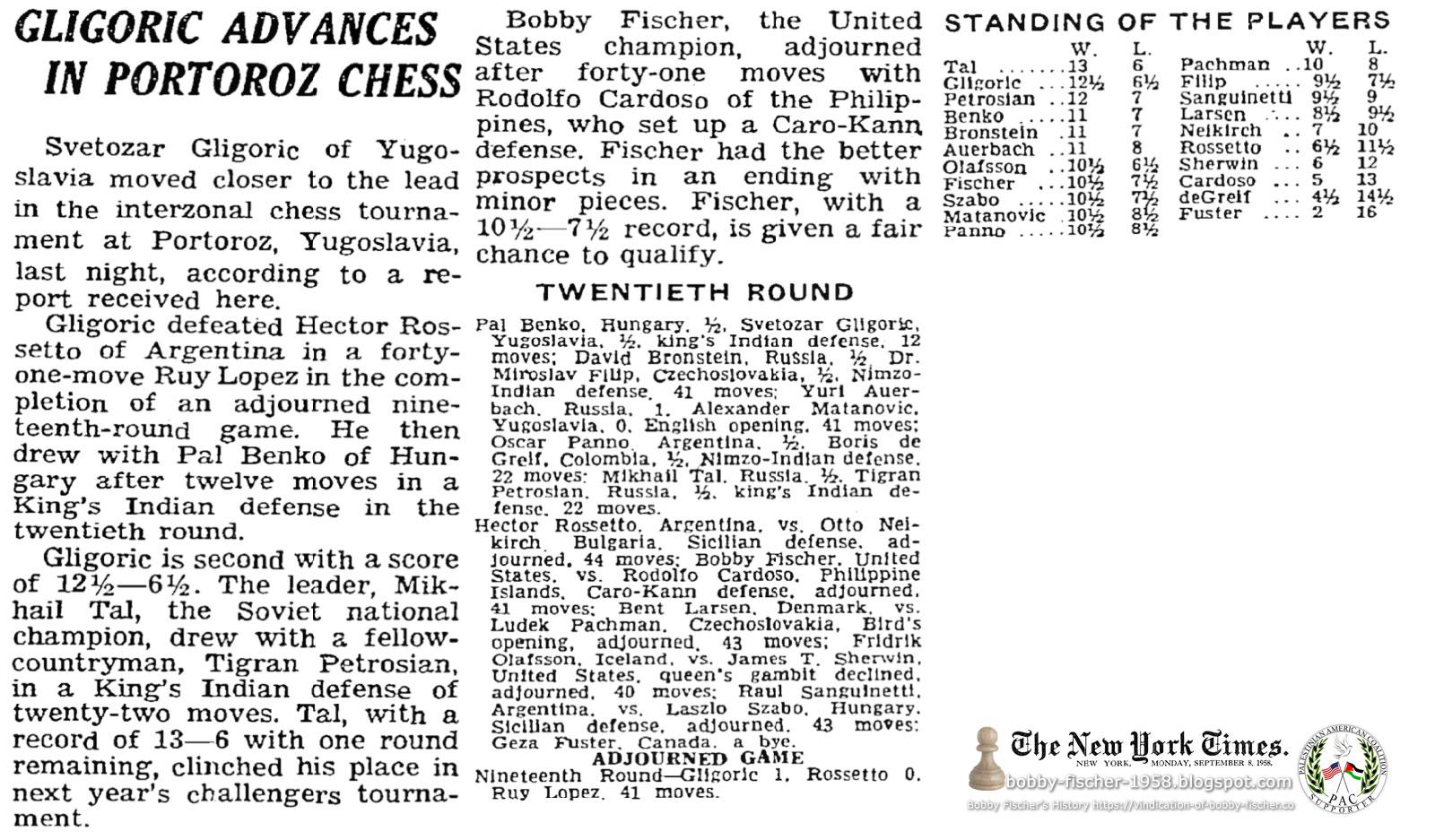 Gligoric Advances In Portoroz Chess: Bobby Fischer Adjourns After 41 Moves with Cardoso
