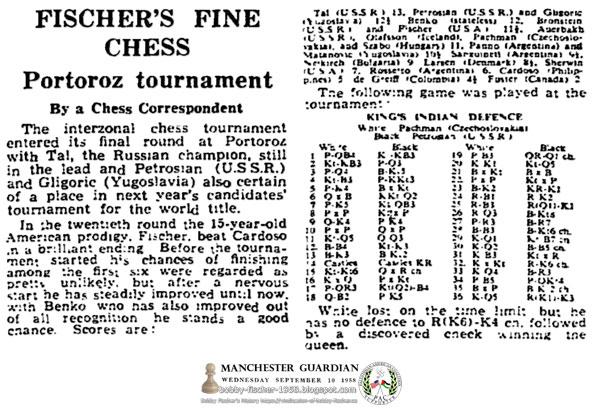 Fischer's Fine Chess - Portoroz Tournament