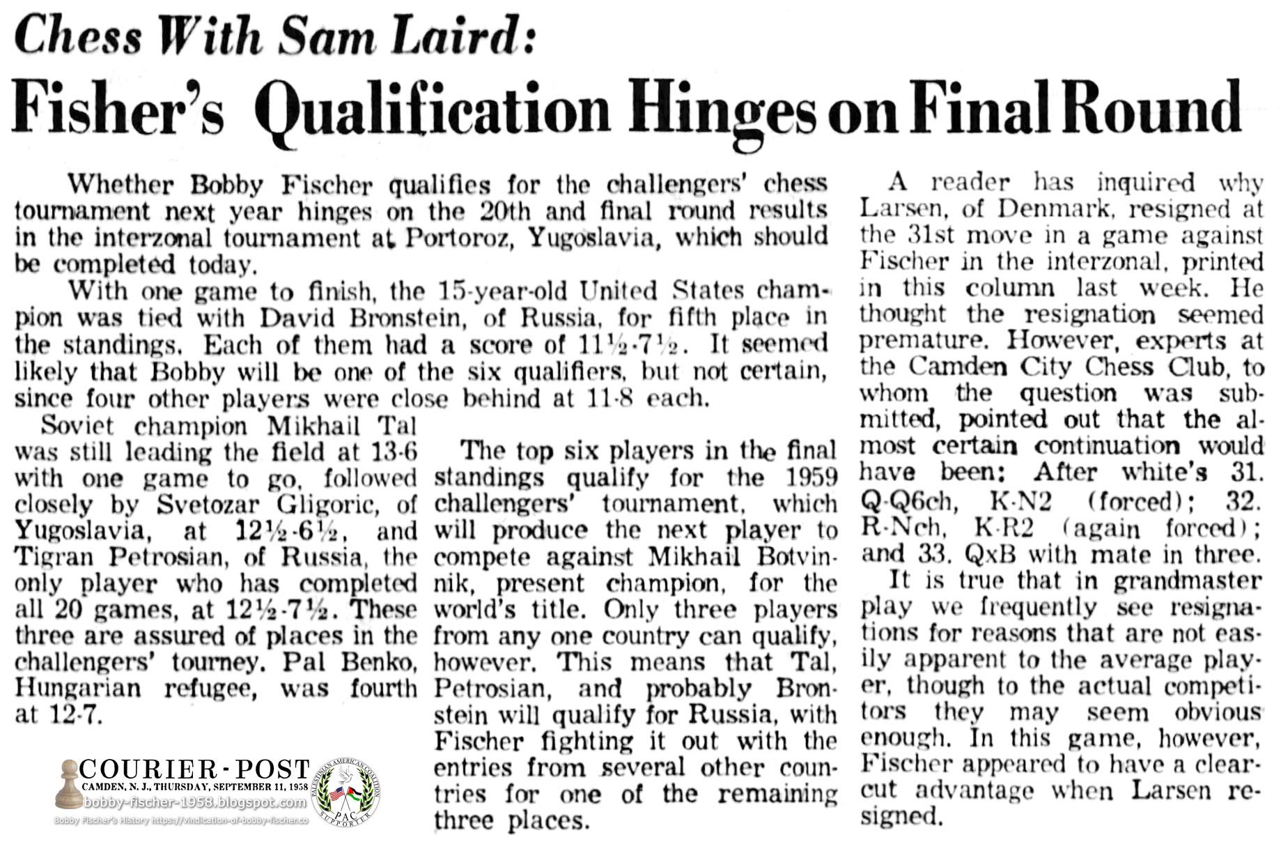 Fischer's Qualification Hinges on Final Round