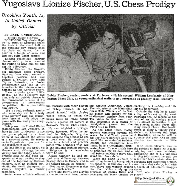 Yugoslavs Lionize Fischer, U.S. Chess Prodigy: Brooklyn Youth, 15, Is Called Genius by Official